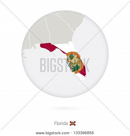 Map Of Florida State And Flag In A Circle.