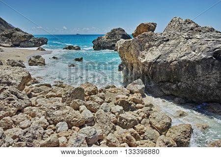 Amazing panorama of Megali Petra Beach, Lefkada, Ionian Islands, Greece