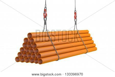 Crane hook lifting orange plasticl pipes isolated on white with clipping path. 3d rendering