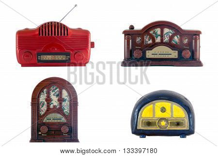 A set of four old tiny and dusty toy radios