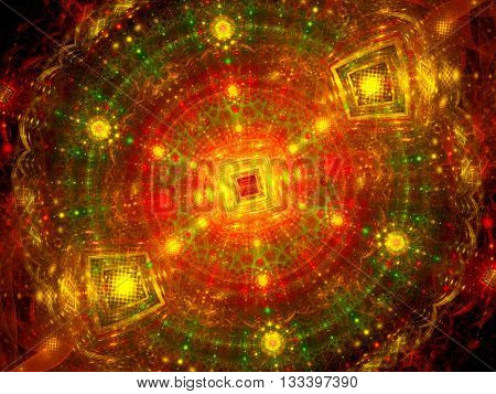 Colorful particles in large hardon collider fractal computer generated abstract background