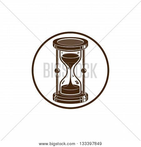 Antique hourglass isolated on white. Time management idea.