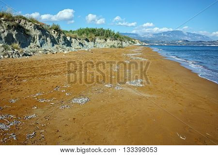 Panoramic view of Red sands of xsi beach, Kefalonia, Ionian Islands, Greece