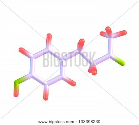 Raspberry ketone is a natural phenolic compound that is the primary aroma compound of red raspberries. 3d illustration