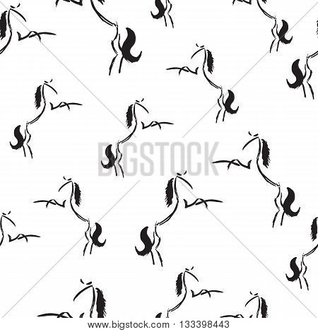 Seamless pattern with rearing stylized freehand horses. Vector illustration. Black and white wallpaper. Artistic grunge ink animal