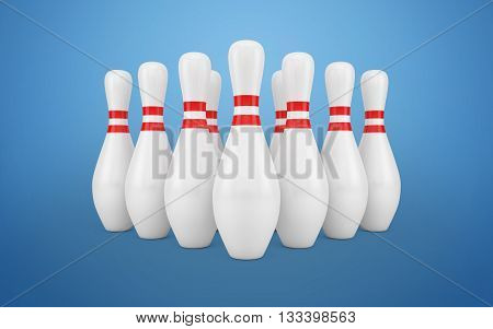 Bowling Skittles isolated with clipping path. 3d rendering
