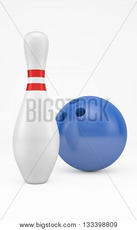 Bowling ball hits skittle isolated on white with clipping path. 3d rendering