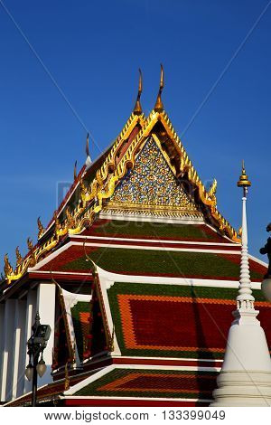 Bangkok  The Temple  Tower Roof Wat  Palaces   Asia Sky And  Colors Religion Mosaic