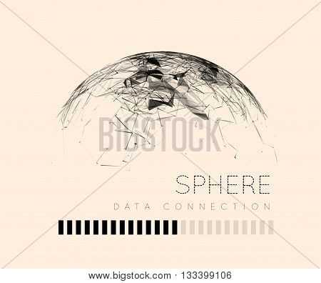Global communication in the sphere form. Stylized planet. Vector illustration