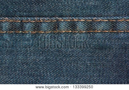 Blue Denim Jeans Texture With Seam, Background