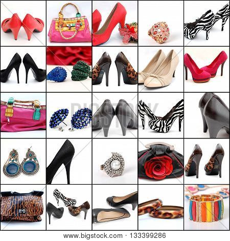 picture collage of high heelsjewellry and fashion bags