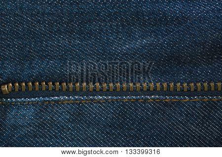 Blue Denim Jeans Texture With Zipper, Background