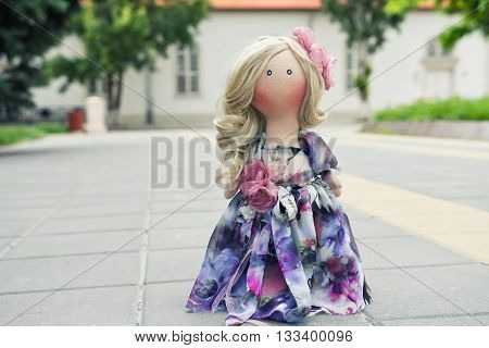 Handmade Doll With Natural Hair In A Long Patchwork Dress