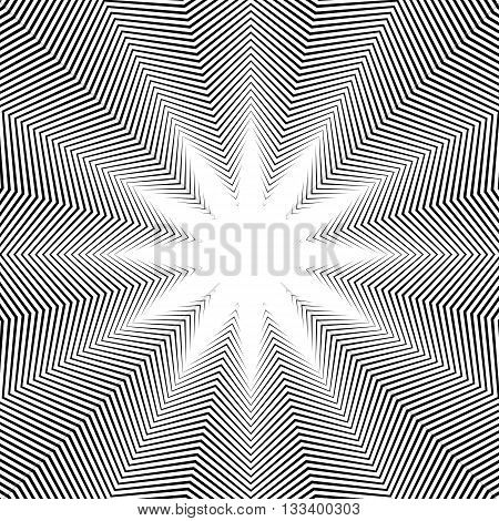 Illusive Background With Black Chaotic Lines, Moire Style. Contrast Geometric Trance Pattern, Vector