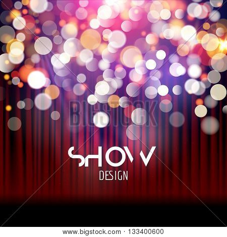 Super show poster template with bokeh lights. Greeting, theater, concert, musical dance, presentation. Beautiful scene with curtains. Vector illustration.