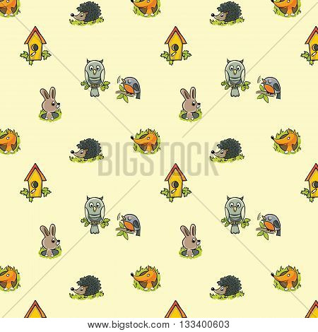 Pattern for a child's theme using the images of forest animals