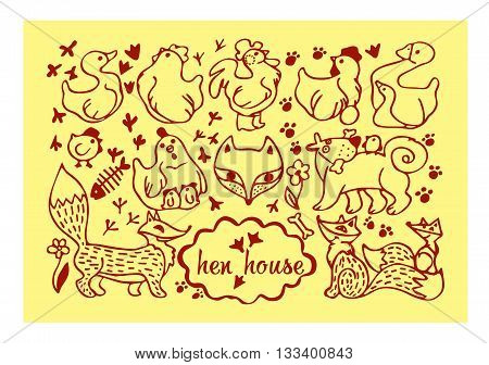 chicken egg rooster chick Fox dog footprintgoose duck flower stylized animals