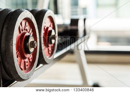 Selective Focus On Dumbbell In Fitness And Gym Room