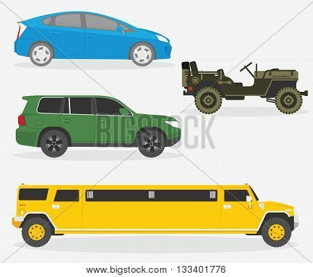 Set of cars. Vector illustration. Automobile, limousine, military car