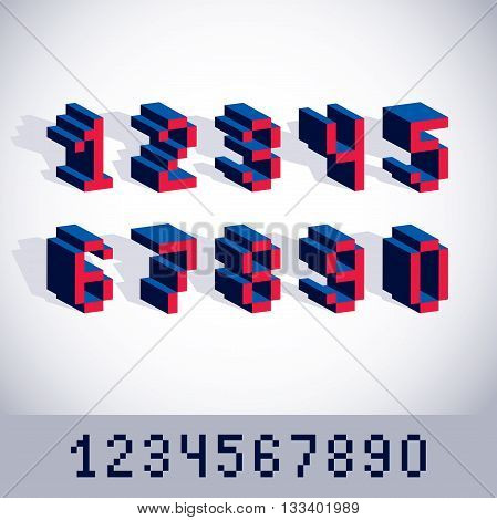 Vector digits numerals created in 8 bit style. Pixel art numbers set 3d mathematics design elements.