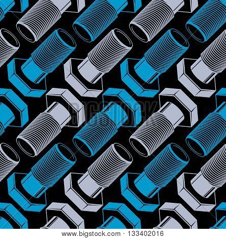 Repair idea seamless vector pattern 3d bolts symmetric backdrop.