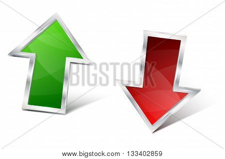 Green and red 3D glossy metal arrow with shines and shadow. Two metal 3D arrows on white background. Isolated shiny glossy three-dimensional arrows with shadows. Vector illustration.