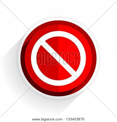access denied icon, red circle flat design internet button, web and mobile app illustration