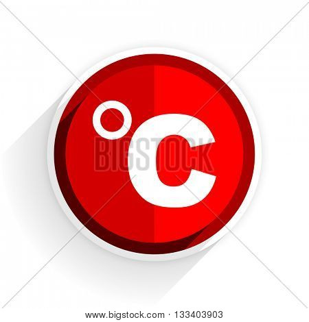 celsius icon, red circle flat design internet button, web and mobile app illustration