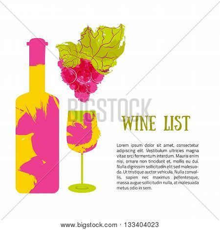 Bottle wine and grapes banner. Vector with color splashes. Logo design template. Concept for wine products, harvest, wine list, menu