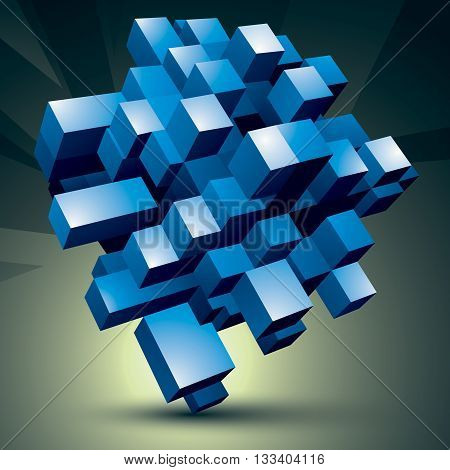 3D modern stylish abstract construction blue facet object constructed from different geometric parts.