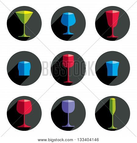 Set of alcohol theme simple vector illustrations. Celebration elements best for use in graphic and web design.