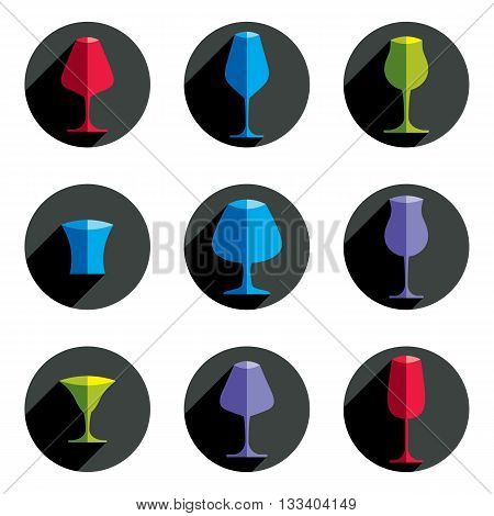 Set of celebration goblets simple vector glassware can be used in graphic and web design.