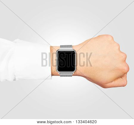 Smart watch blank screen mock up wear on the hand isolated on gray. Steel metallic hand clock mockup metal band. Smartwatch design presentation empty display template.