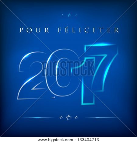 Glowing Lettering 2017 On Blue Background