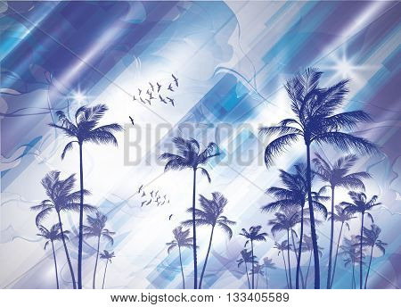 Exotic tropical palm trees at sunset or sunrise with cloudy sky. Highly detailed and editable