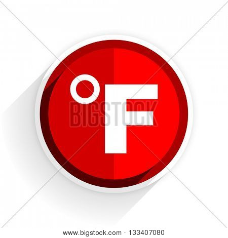 fahrenheit icon, red circle flat design internet button, web and mobile app illustration