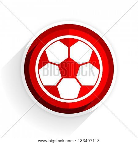 soccer icon, red circle flat design internet button, web and mobile app illustration