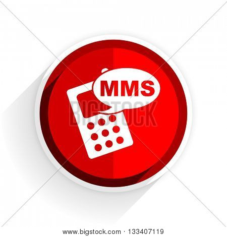mms icon, red circle flat design internet button, web and mobile app illustration