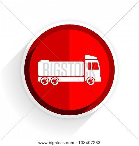 truck icon, red circle flat design internet button, web and mobile app illustration