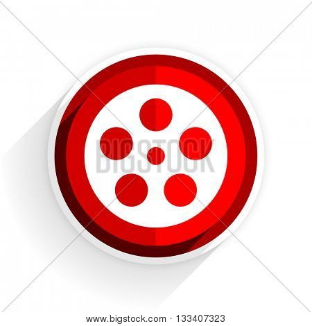 film icon, red circle flat design internet button, web and mobile app illustration