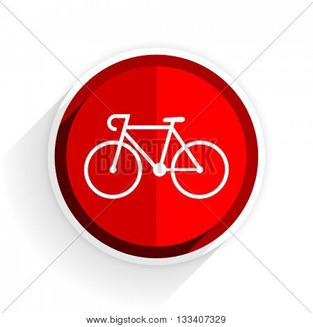 bicycle icon, red circle flat design internet button, web and mobile app illustration