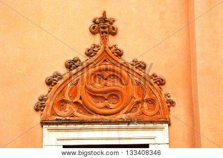 Church Door   In Italy  Lombardy   Column  The      Closed Brick