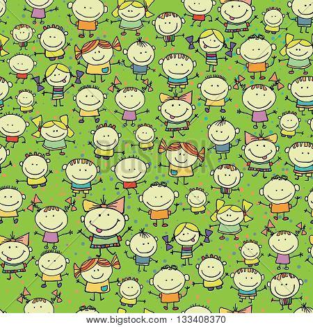 Happy, smiling cartoon children .  Seamless background
