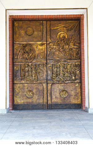 Abstract  Church Door    In Italy  Lombardy   Gold   Closed Brick