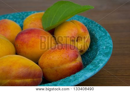 Apricots. Bowl of harvested apricots on a rustic stone surface top view rustic style.
