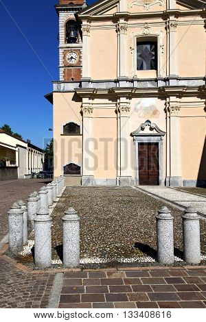 In  The Somma Lombardo    Old   Church    Brick Tower Sidewalk Italy  Lombardy