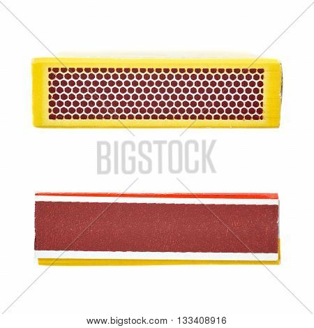 Set of Unused striking surface box side of matches isolated over the white background