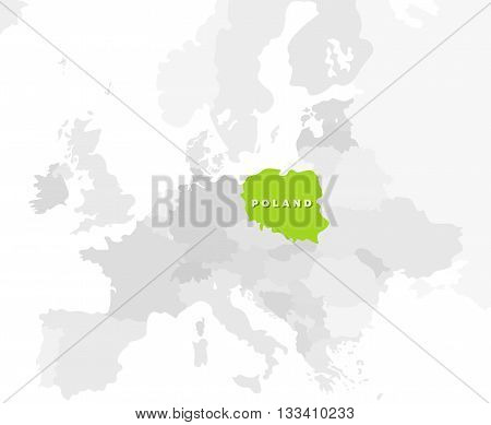 Poland location modern detailed map. All european countries without names. Vector template of beautiful flat grayscale map design with selected country name text and Poland border location