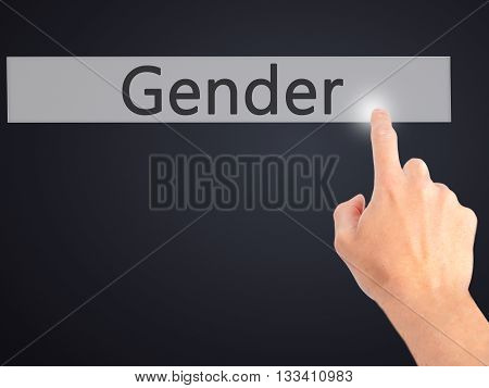 Gender - Hand Pressing A Button On Blurred Background Concept On Visual Screen.