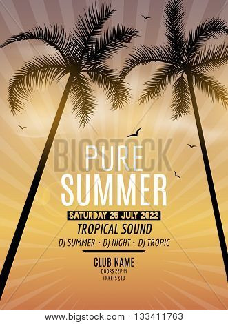 Tropic Summer Beach Party. Tropic Summer vacation and travel. Tropical poster colorful background and palm exotic island. Music summer party festival. DJ template